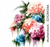 watercolor hyrangea flower | Shutterstock . vector #324284366