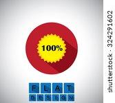 flat design icon of 100  badge...