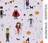halloween seamless with  kids... | Shutterstock .eps vector #324297212