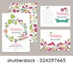 set of invitational floral... | Shutterstock .eps vector #324297665
