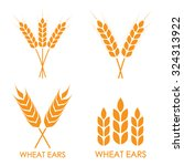 wheat ears or rice icon set.... | Shutterstock .eps vector #324313922