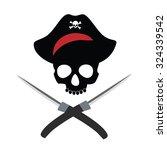 pirate skull  pirate hat ...   Shutterstock . vector #324339542