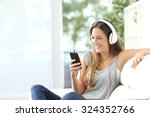 Happy Girl Listening To Music...