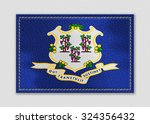connecticut flag leather label...   Shutterstock . vector #324356432