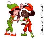 girls in christmas dress... | Shutterstock .eps vector #324360602