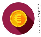 gold euro coin in a circle.... | Shutterstock .eps vector #324362618