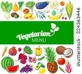 vegetarian menu design. hand... | Shutterstock .eps vector #324363446