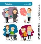 young woman volunteer... | Shutterstock .eps vector #324389618