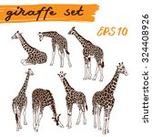 giraffe set. vector illustration | Shutterstock .eps vector #324408926