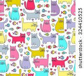 Stock vector vector seamless pattern with colorful cats and fish funny doodle kitten cartoon hand drawn design 324410525
