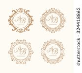 set of elegant floral monogram...   Shutterstock . vector #324418862