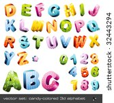 Cute Candy Colored 3d Alphabet...