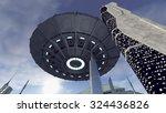 ufo above a futuristic city. 3d ... | Shutterstock . vector #324436826