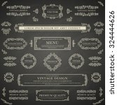 set of white decorative vintage ... | Shutterstock .eps vector #324444626