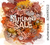 autumn sale hand lettering and... | Shutterstock .eps vector #324459212