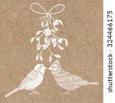 birds and mistletoe. vector... | Shutterstock .eps vector #324466175