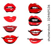 beautiful glossy female lips.... | Shutterstock .eps vector #324469136