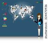 businesswoman with world map... | Shutterstock .eps vector #324470936