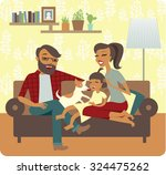 young family playing with baby... | Shutterstock .eps vector #324475262