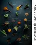 spices and herbs. variety of... | Shutterstock . vector #324477092