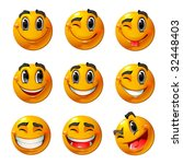 nine smiling faces  they all... | Shutterstock .eps vector #32448403