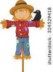 A Crow Perch On The Scarecrow