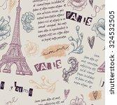 Paris. Vintage Seamless Patter...