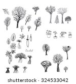 set of ink sketches of trees | Shutterstock . vector #324533042