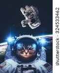Stock photo an astronaut cat floats above earth stars provide the background elements of this image furnished 324533462
