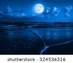 beach at midnight with a full... | Shutterstock . vector #324536516