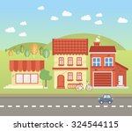 small town's street  with... | Shutterstock .eps vector #324544115