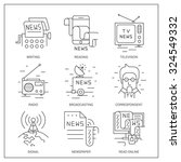 Set of simple vector icons.Online translation, methods of data transmission, TV and radio broadcasting. | Shutterstock vector #324549332