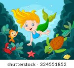 little mermaid swimming... | Shutterstock . vector #324551852