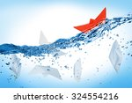 red boat is coping with the... | Shutterstock . vector #324554216