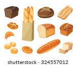 Set Of Cartoon Food  Bread  ...