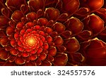 Abstract Fractal Flower In Red...