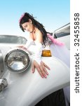 beauty bride with limousine... | Shutterstock . vector #32455858