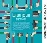 hands holding various high tech ... | Shutterstock .eps vector #324559172