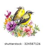 Cute Birds Couple In Flowers....