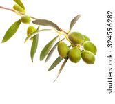 big green olives in olive tree... | Shutterstock . vector #324596282