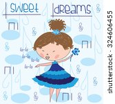 cute singing little girl with... | Shutterstock .eps vector #324606455
