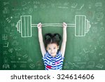 strong kid with weight lifting... | Shutterstock . vector #324614606