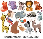 Stock vector cute woodland and jungle animals vector set 324637382