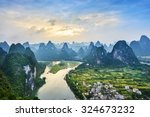 landscape of guilin  li river... | Shutterstock . vector #324673232