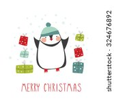 greeting card  merry christmas. ... | Shutterstock .eps vector #324676892