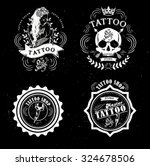 set vector tattoo studio logo... | Shutterstock .eps vector #324678506