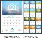 wall monthly calendar for 2016... | Shutterstock .eps vector #324684926
