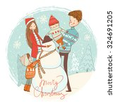 Snowman And Happy Family....