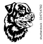 rottweiler dog head black and... | Shutterstock .eps vector #324714782