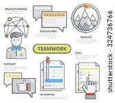 flat line design illustration... | Shutterstock .eps vector #324736766